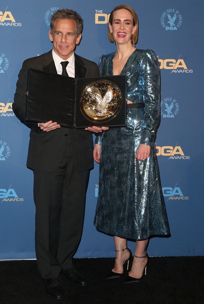 Sarah Paulson and Ben Stiller on the red carpet at the 2019 Directors Guild of America Awards at the Ray Dolby Ballroom in Hollywood, California, on February 5, 2019