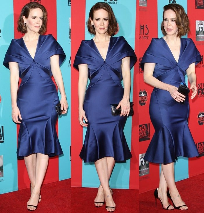 "Sarah Paulson wearing a Zac Posen ""Duchess"" dress and a Tyler Alexandra clutch"