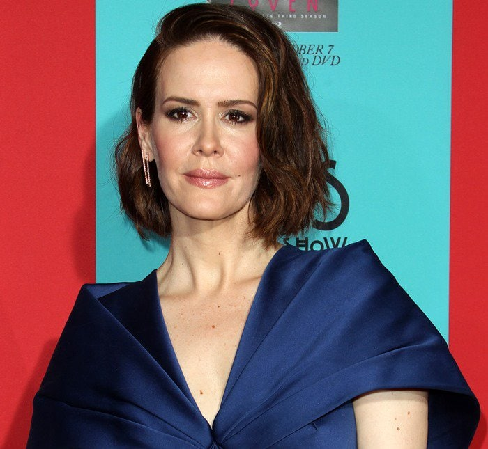 Sarah Paulson at the fourth season premiere of her hit show American Horror Story: Freak Show held at TCL Chinese Theatre in Hollywood on October 6, 2014