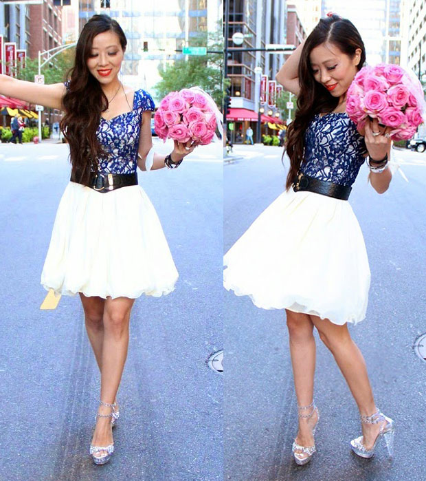 Sasa shows how to weara romantic lace dress withtransparent and studded heels