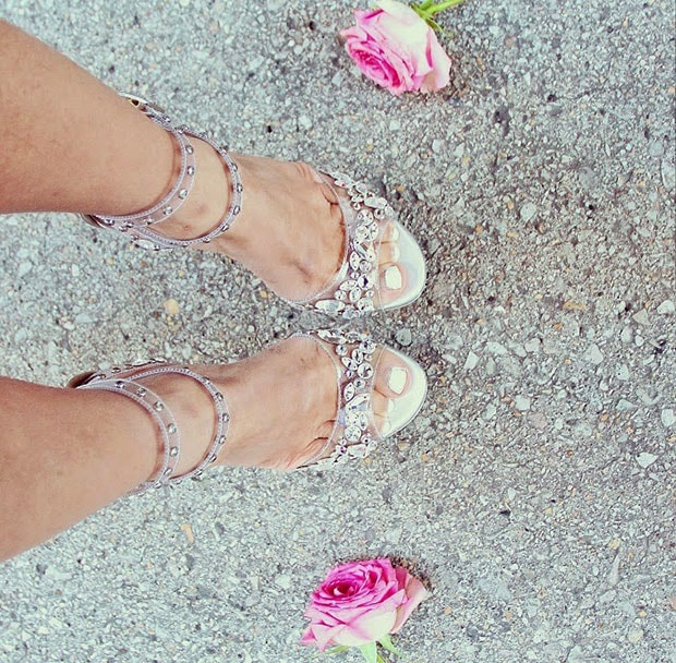 Sasa shows off her feet in transparent and studded heels