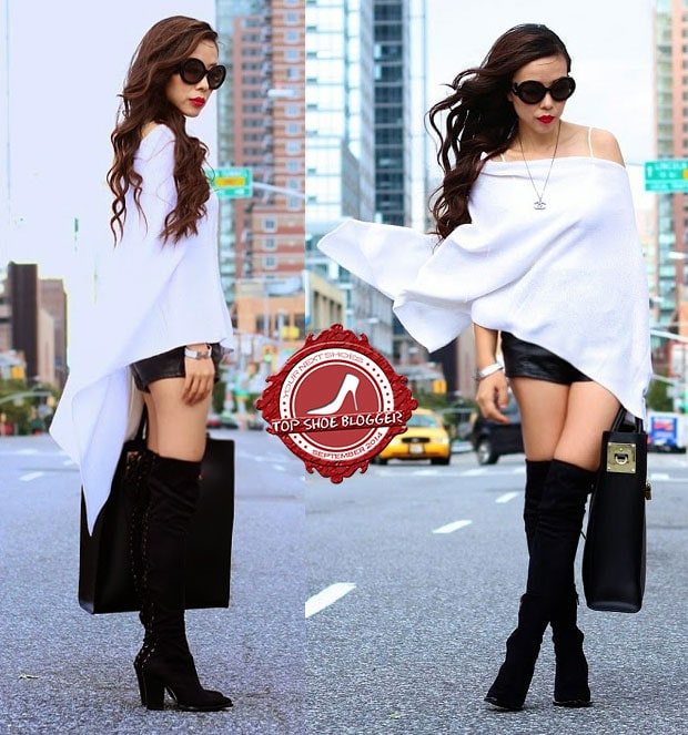 Sasa shows how to weara white poncho and leather shorts