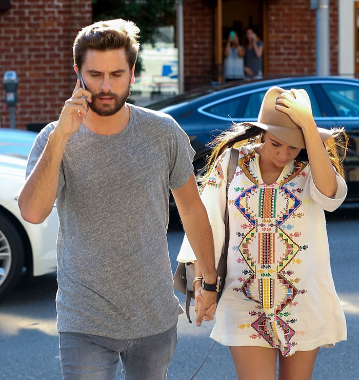 Pregnant reality star Kourtney Kardashian and her boyfriend Scott Disick are seen visiting a doctor's office in Beverly Hills, California on October 16, 2014