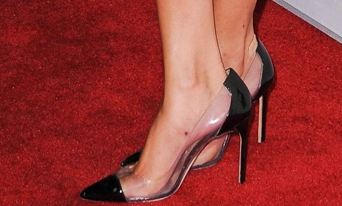 "Selena Gomez shows off her feet in translucent cap-toe ""Pacha"" pumps"
