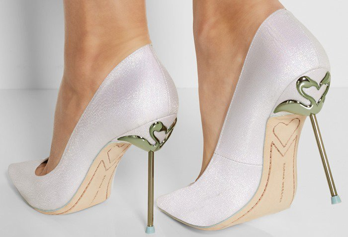 Sophia Webster White Coco Glitterfinished Twill Pumps