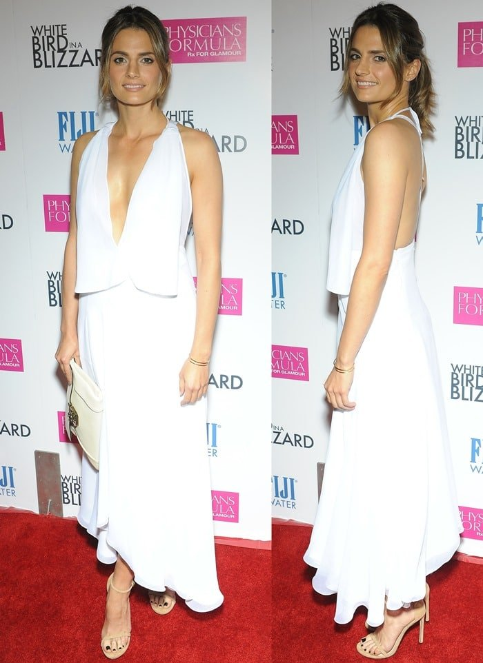Stana Katic in a white chiffon halter dress from the Chloé Spring 2014 Collection