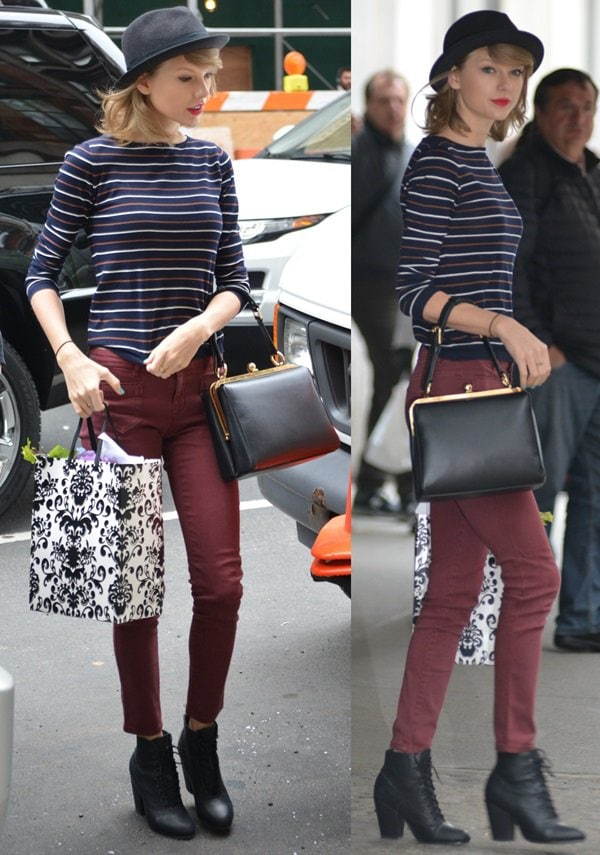 Taylor Swift rocks Miles lace-up ankle boots by Rag & Bone while running errands