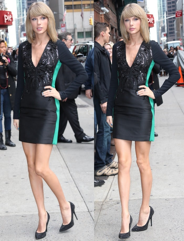 Taylor Swift flaunts her sexy legs in a dress from the Antonio Berardi Fall 2014 collection