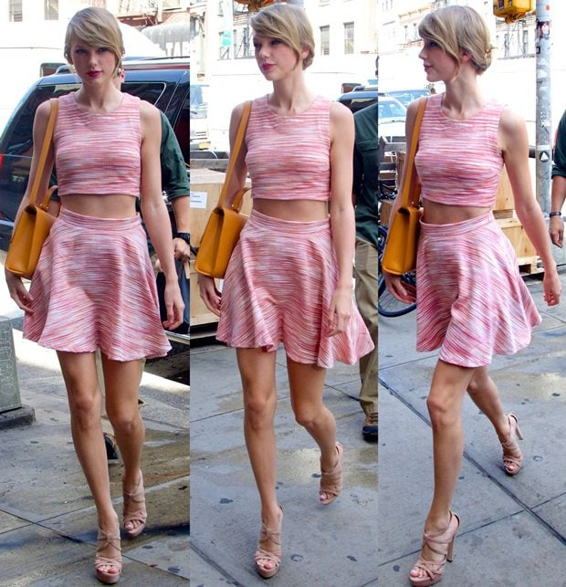 Taylor Swift toting a Bhailiu streamlined satchel in the East Village