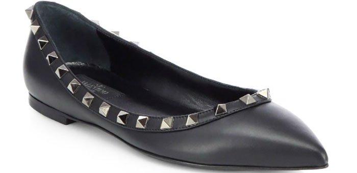 Valentino-Noir-Rockstud-Leather-Ballet-Flats