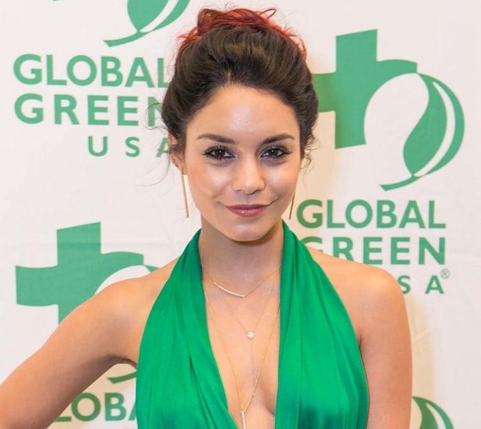 Vanessa Hudgens donned a stunning green halter-neck satin wrap dress by Diane von Furstenberg