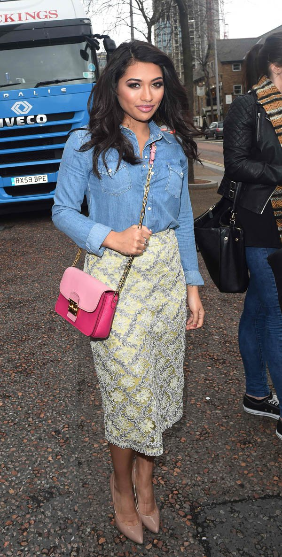 Pick a pretty pencil skirt to soften the denim look like Vanessa White