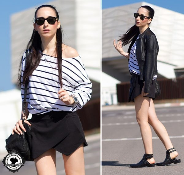 Verónica mixed her skort and stripes with a pair of cutout booties