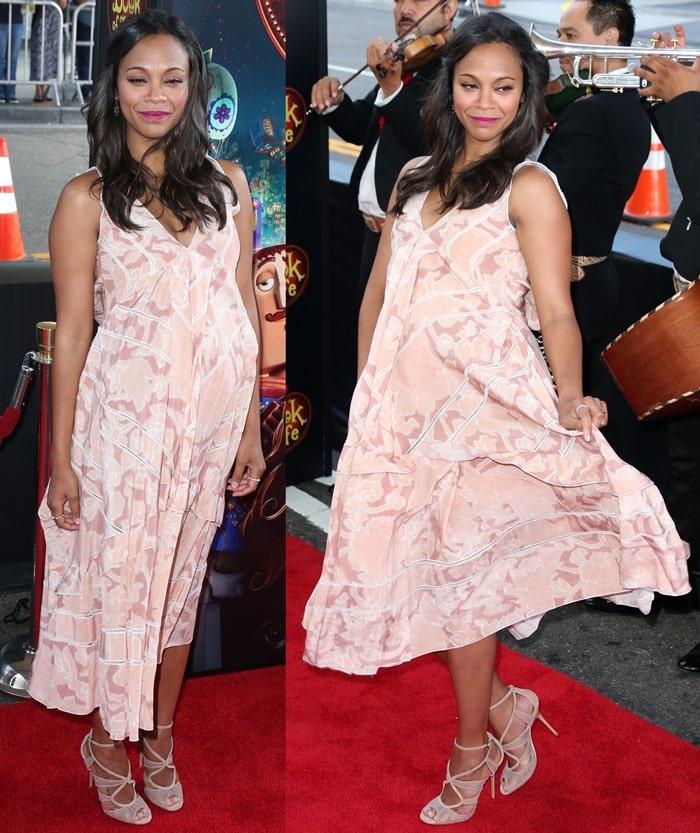 Zoe Saldana ina feminine printed dress from the Altuzarra Spring 2015 collection