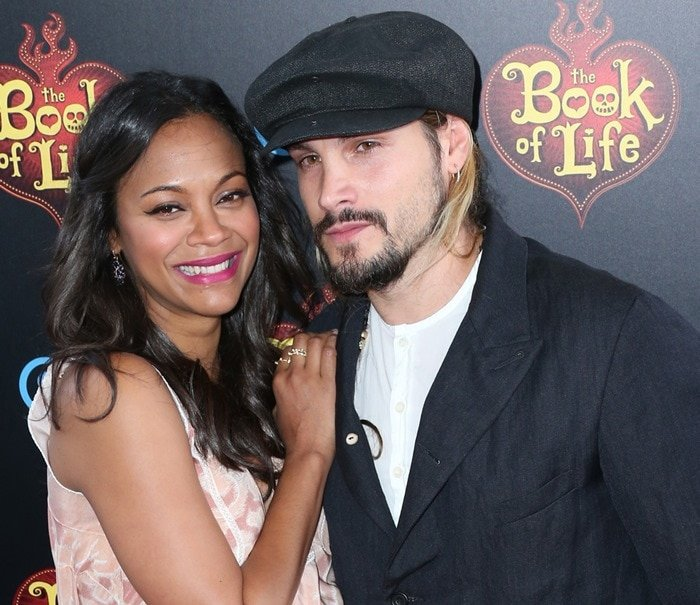 Zoe Saldana and Marco Perego at the premiere of The Book of Life held at the Regal Cinemas L.A. Live in Los Angeles on October 12, 2014