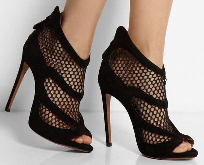 Alaia Suede-and-Mesh Open-Toe Booties