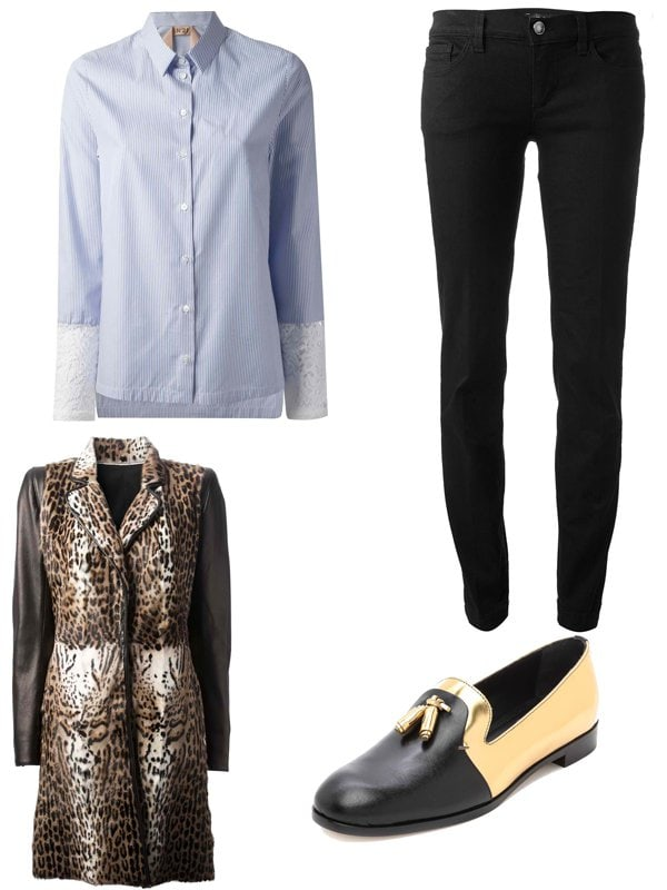 Leopard Print Fur Coat Outfit Idea
