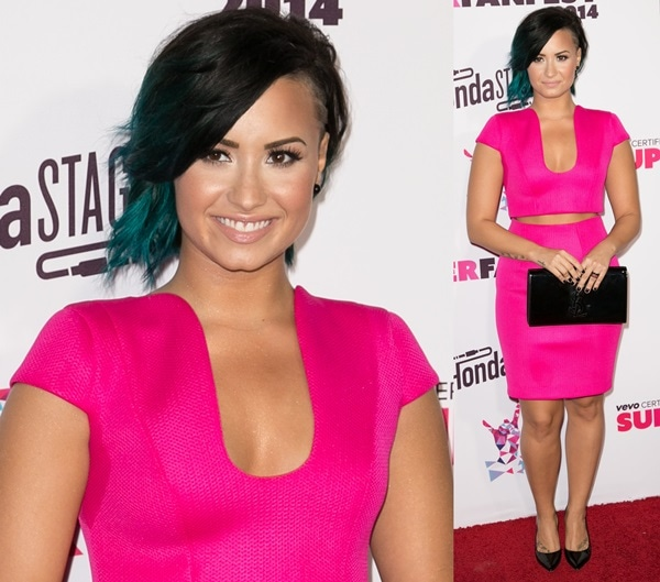 Demi Lovato at the Vevo SuperFanFest presented by Honda Stage at Barker Hangar in Santa Monica, California, on October 8, 2014