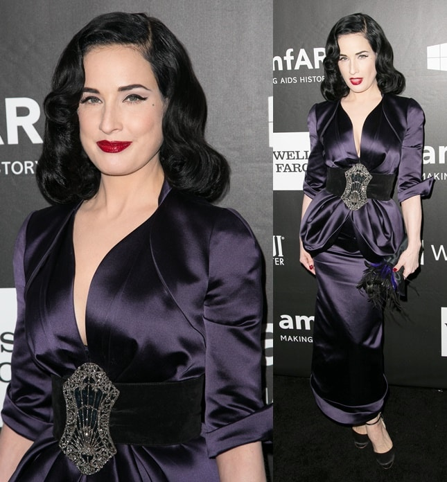 Dita Von Teese covering up at the 2014 amfAR Gala held at the Four Seasons Hotel in Beverly Hills on October 29, 2014