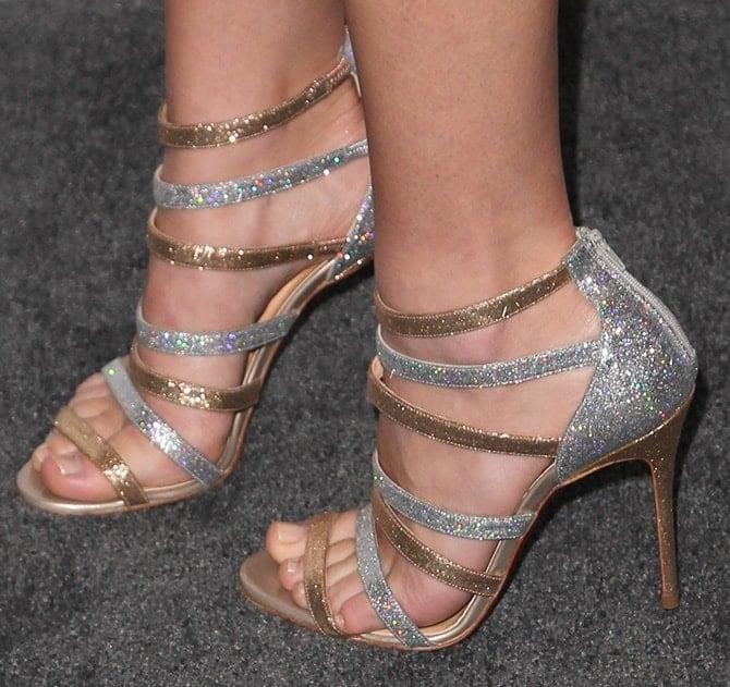 Britt Robertson's beautiful feet in glittering sandals