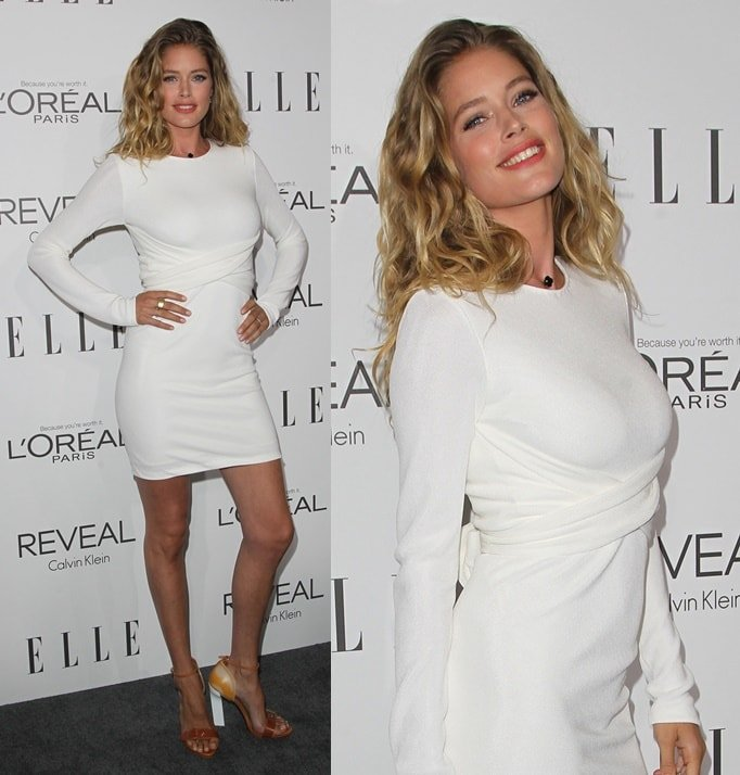 Model Doutzen Kroes flaunts her legs at the 2014 ELLE Women In Hollywood Awards