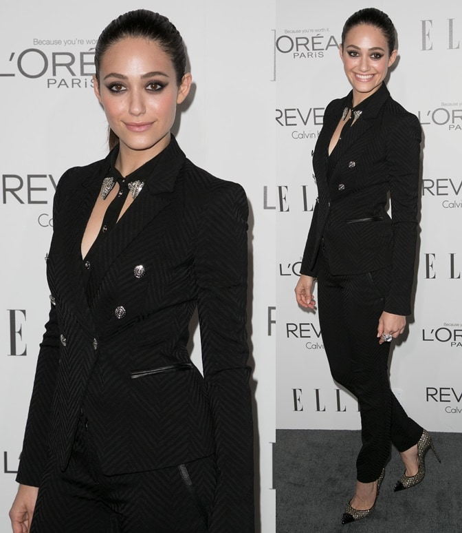 """Emmy Rossum channeled """"lady boss"""" when she attended the ELLE Women in Hollywood Celebration"""