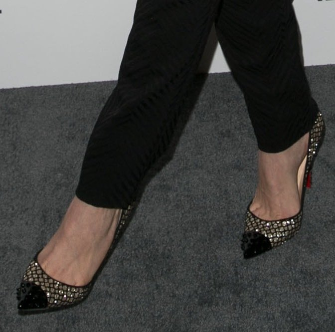 A closer look at Emmy's glittered Christian Louboutin pumps