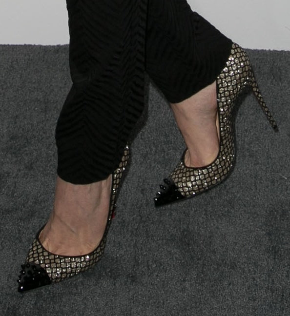 Emmy Rossum's toe cleavage in Geo shoes by Christian Louboutin