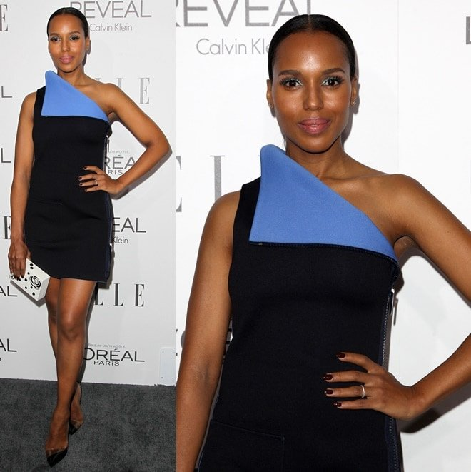 Kerry Washington shows off her legs in a short Calvin Klein creation during the ELLE Women in Hollywood Celebration held in Beverly Hills on October 21, 2014