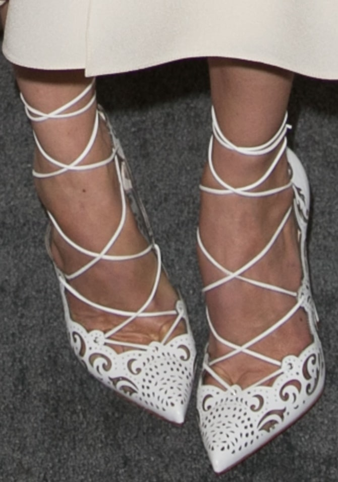 """A closer look at Michelle's """"Impera"""" lace-up pumps from Christian Louboutin"""