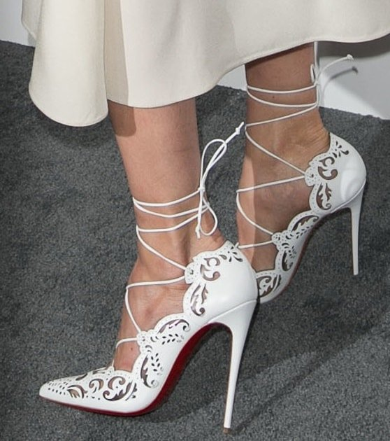 Michelle Monaghan's hot feet in white Impera heels