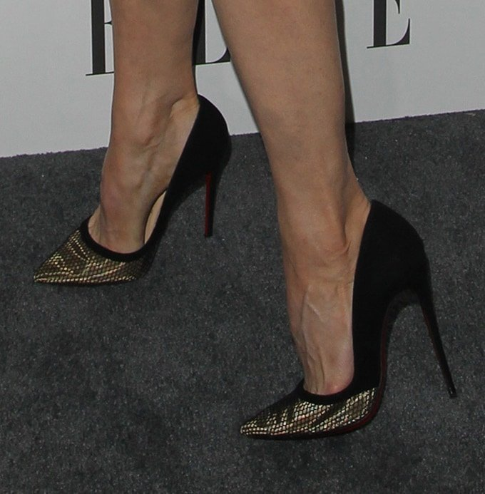 Renee Zellweger's feet in gold-detailed pumps from Christian Louboutin
