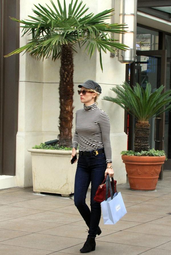 January Jones wearinga striped turtleneck sweater in West Hollywood on January 24, 2014