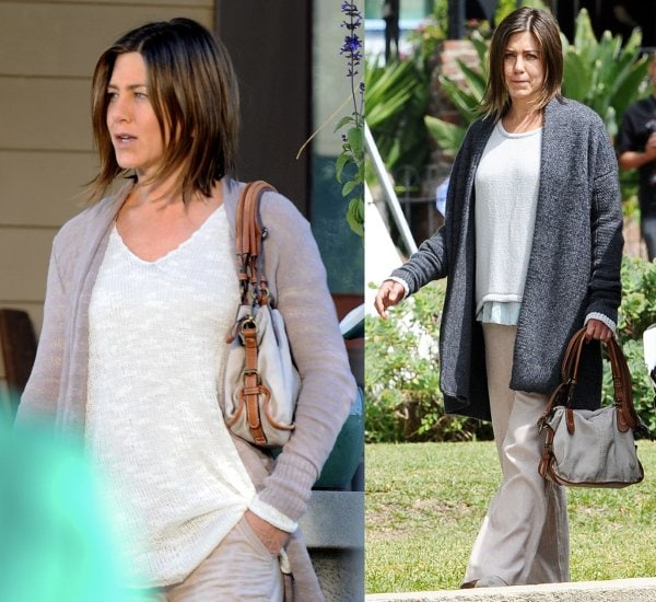 Jennifer Aniston sports a bare, rough face