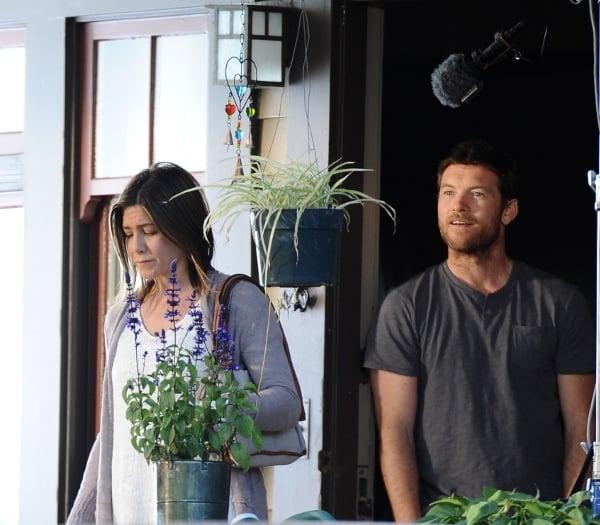Jennifer Aniston shooting tense scenes with Sam Worthington for the 2014 American drama film Cake
