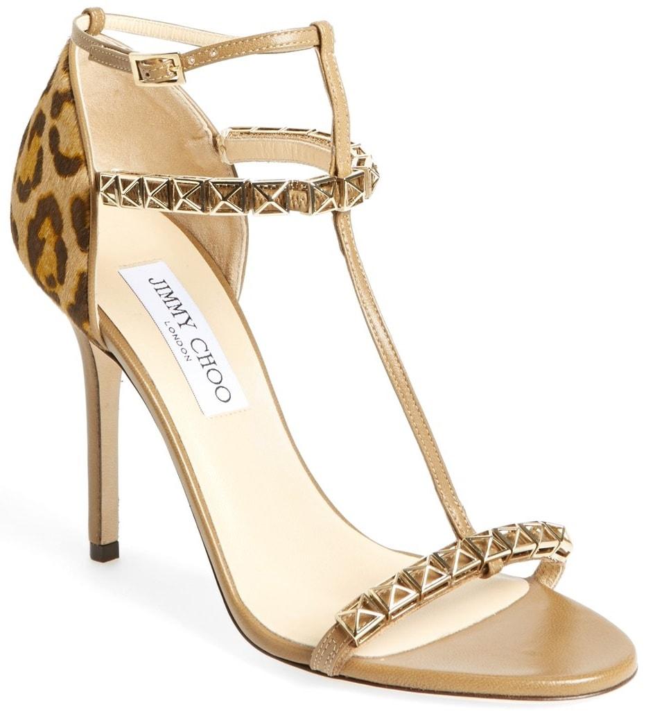 Jimmy Choo 'Flint' T Strap Sandals in Leopard Print