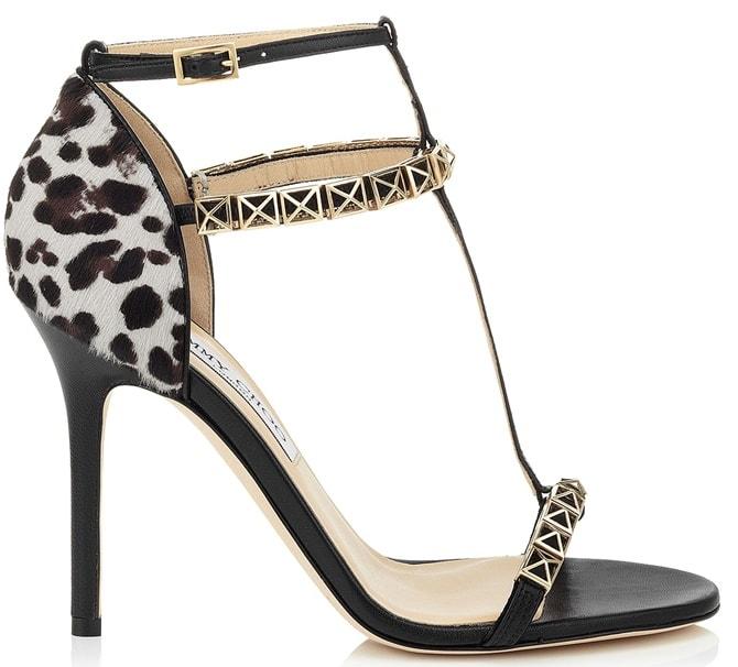 Jimmy Choo 'Flint' T Strap Sandals in Black Leopard Print