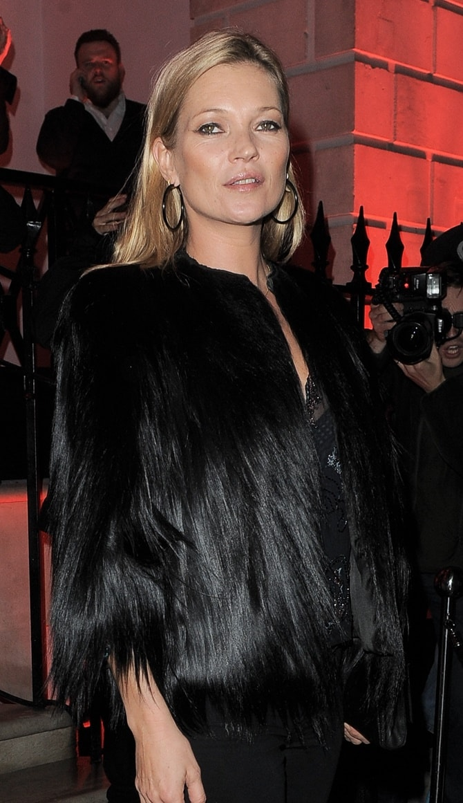 Kate Moss rocks a gorilla faux-fur jacket at the Melissa flagship store opening