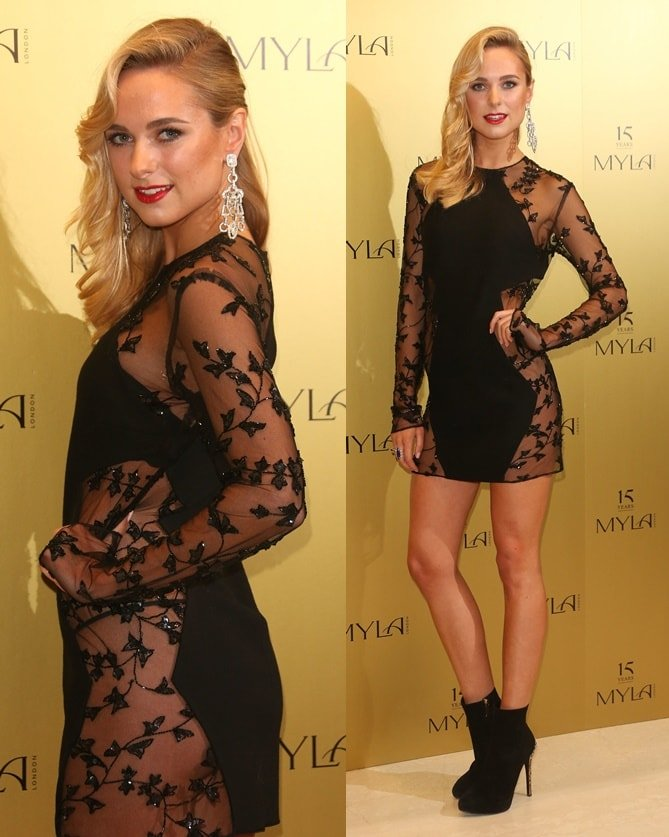Kimberley Garner showcasing her toned derriere in a sheer-paneled dress atthe 15th-anniversary party of MYLA Lingerie in London, England, on October 21, 2014
