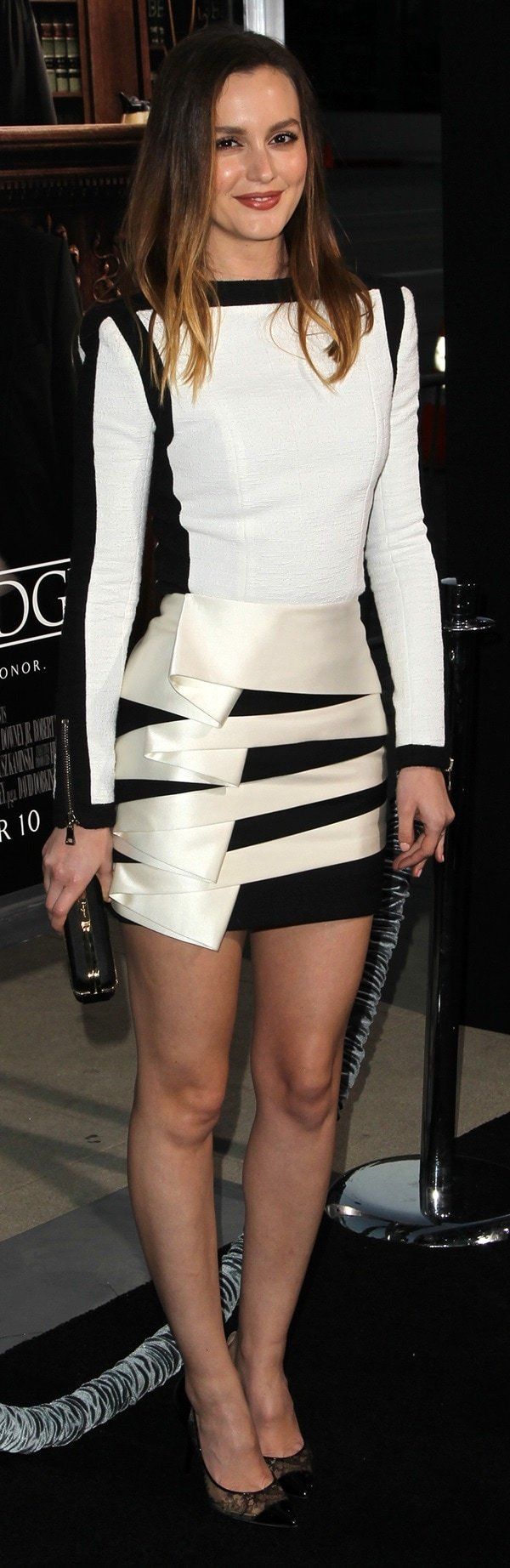 Leighton Meester looked very pulled together in a black-and-white Balmain Resort dress
