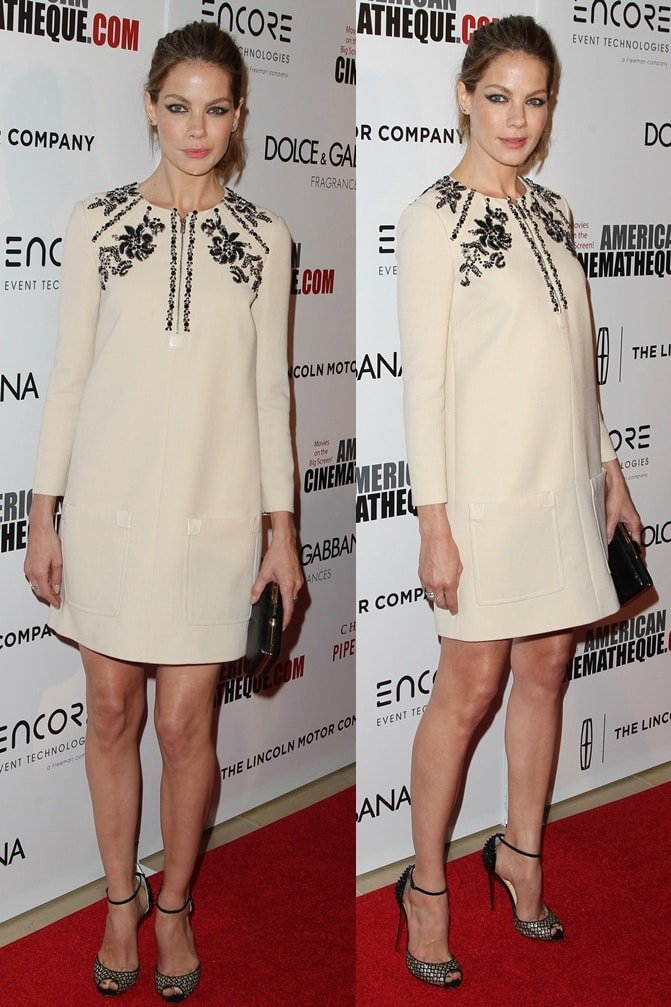 Michelle Monaghan wears an embellished shift dress to the 2014 American Cinematheque Awards held at the Beverly Hilton Hotel in Los Angeles on October 21, 2014