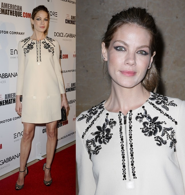 Michelle Monaghan was almost unrecognizable at the 28th American Cinematheque Awards held at the Beverly Hilton Hotel in Los Angeles