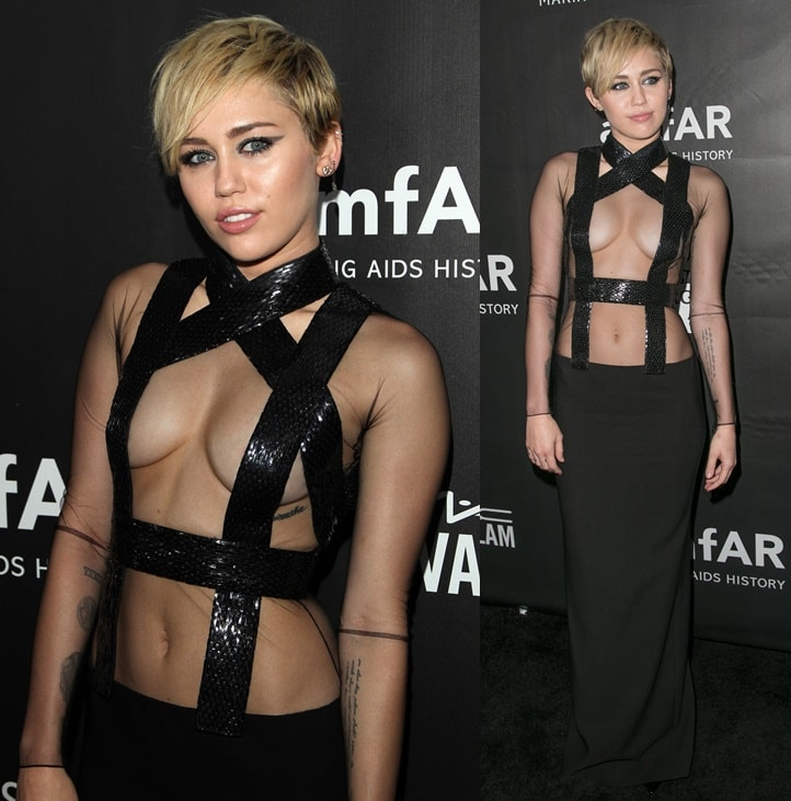 Miley Cyrus in a practically naked look in her sheer Tom Ford dress at the 2014 amfAR Gala held at the Four Seasons Hotel in Beverly Hills on October 29, 2014