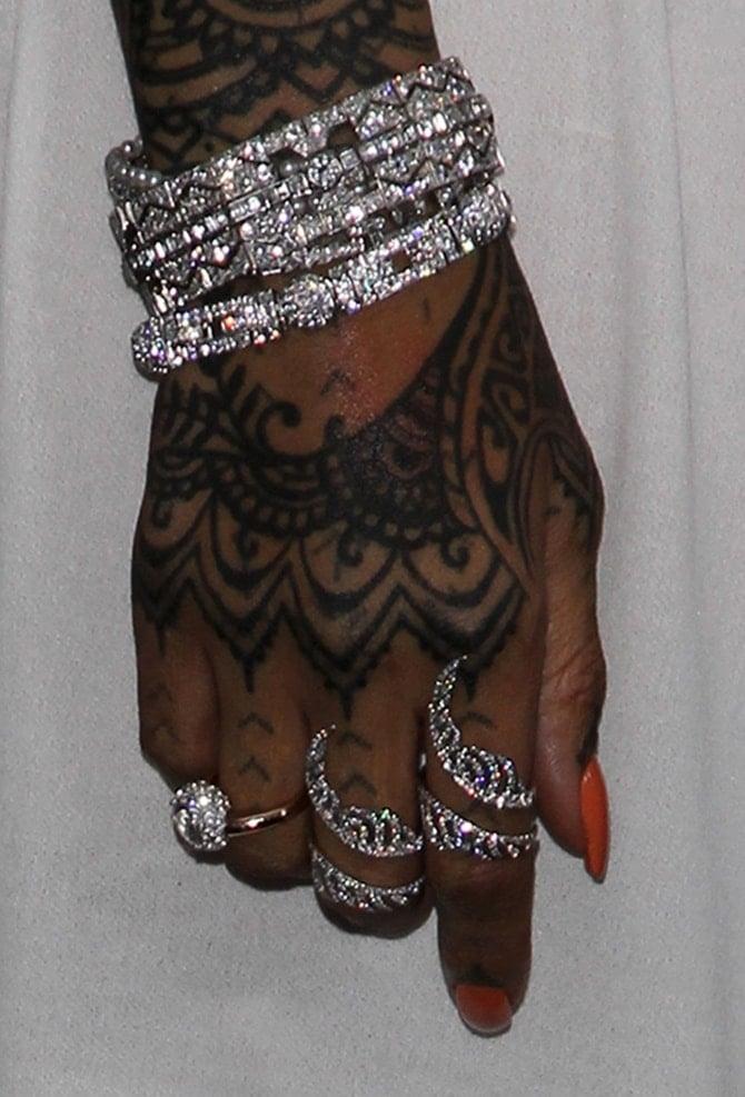 Rihanna accessorizing with diamonds