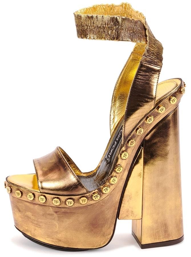 Tom Ford Metallic Ankle-Wrap Platform Sandals