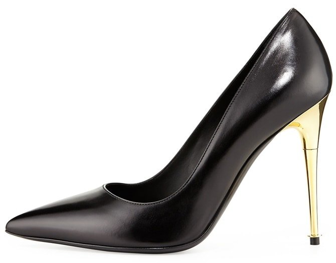 Tom Ford Gold-Heel Pointy-Toe Pumps