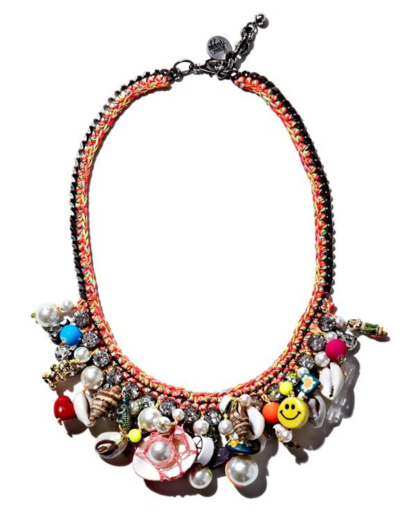 Mixed-media magic meets surfer-girl style in this wonderfully whimsical necklace fashioned with lavish threading, a chunky chain and a riotous profusion of tiny treasures