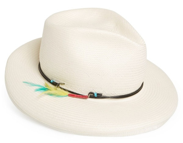 Lure them all in with a snappy white fedora styled by a slim leather cord, a gleaming fish hook and an insouciant spray of bright feathers.