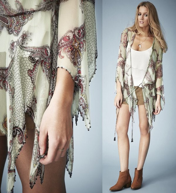 See-through paisley tie blouse with its featured jagged hem