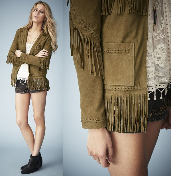 We love the Western vibe of this khaki suede jacket
